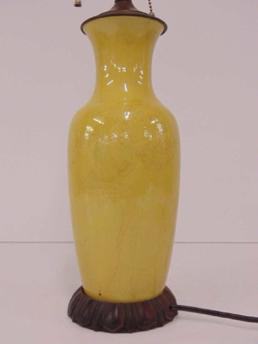 Chinese porcelain lamp, yellow, bamboo decorations