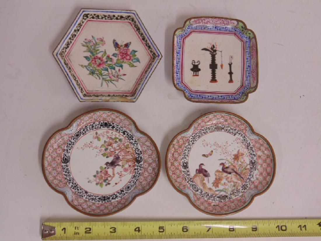 4 enameled dishes, trays, appear Persian