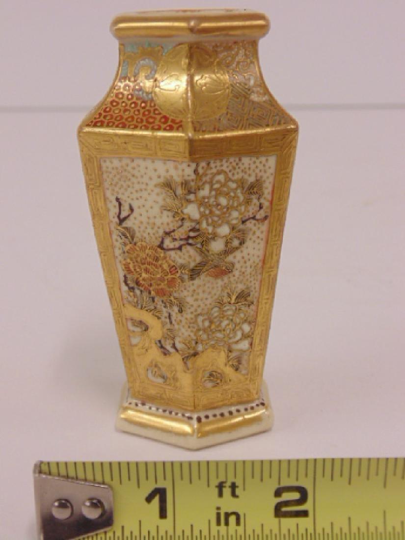 Miniature Satsuma, Japanese 6 sided vase