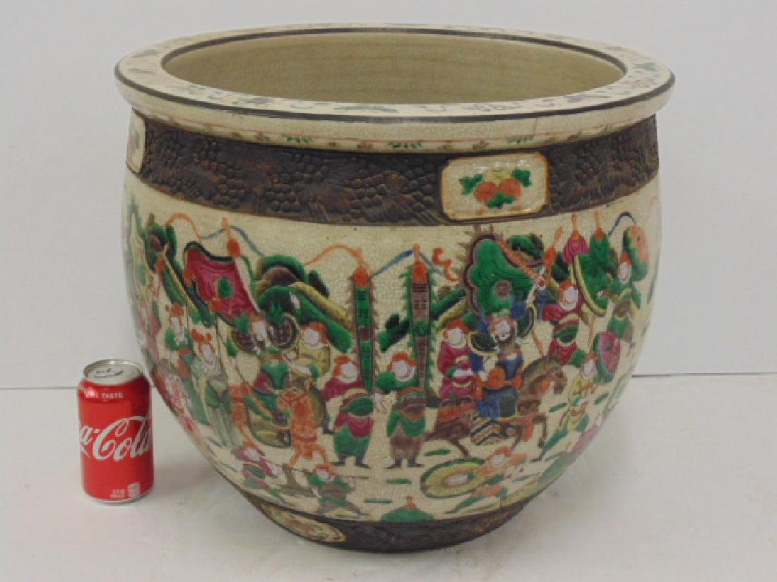 Large Asian, Chinese porcelain fish bowl planter
