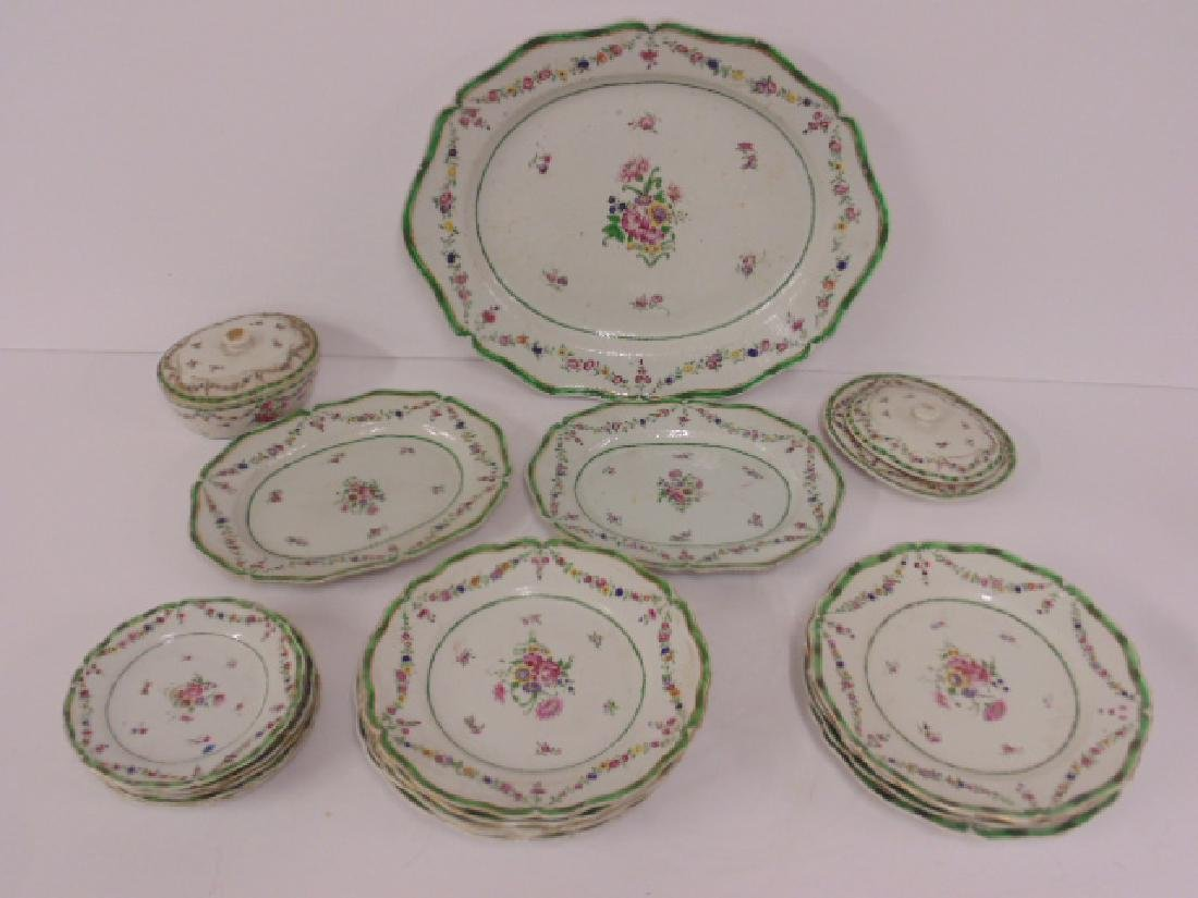 Lot Chinese Export porcelain, green, floral decorated