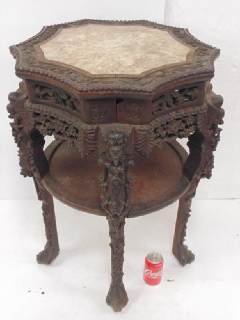 Chinese carved marble top 19th Century plant stand