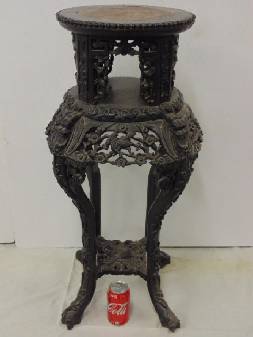 Chinese marble top plant stand