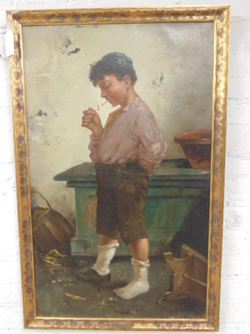 Painting, boy lighting a cigarette,  Douglas Wilson