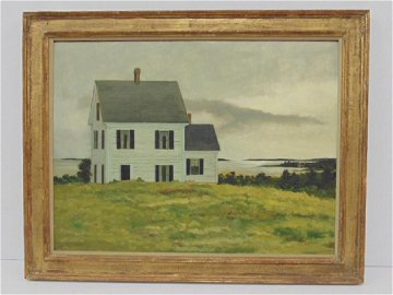 Painting, house in landscape,  Robert Solotaire, 1966