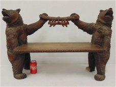 Black forest carved bear bench