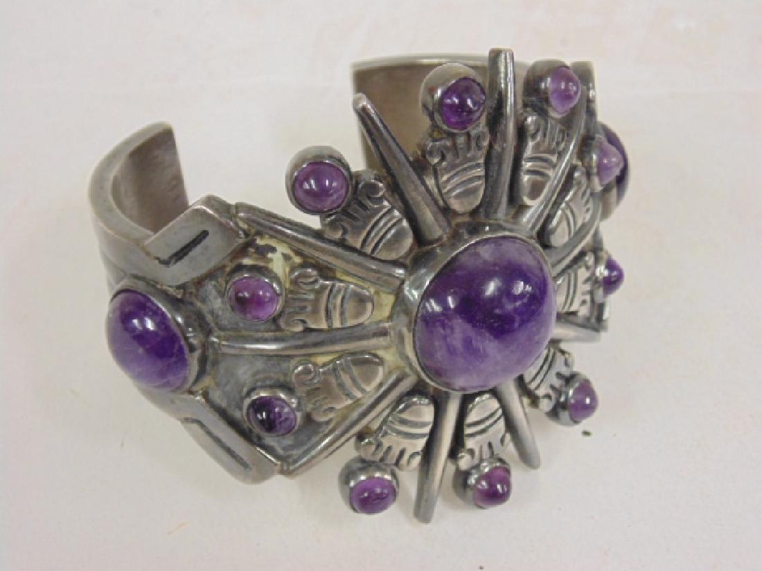 Spratling Mexican sterling silver cuff, amethyst