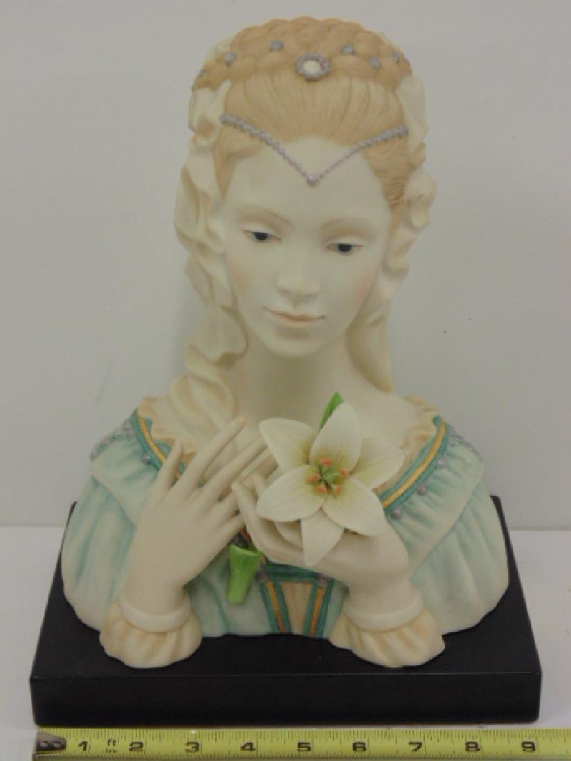 Cybis Studio porcelain bust, woman with flower