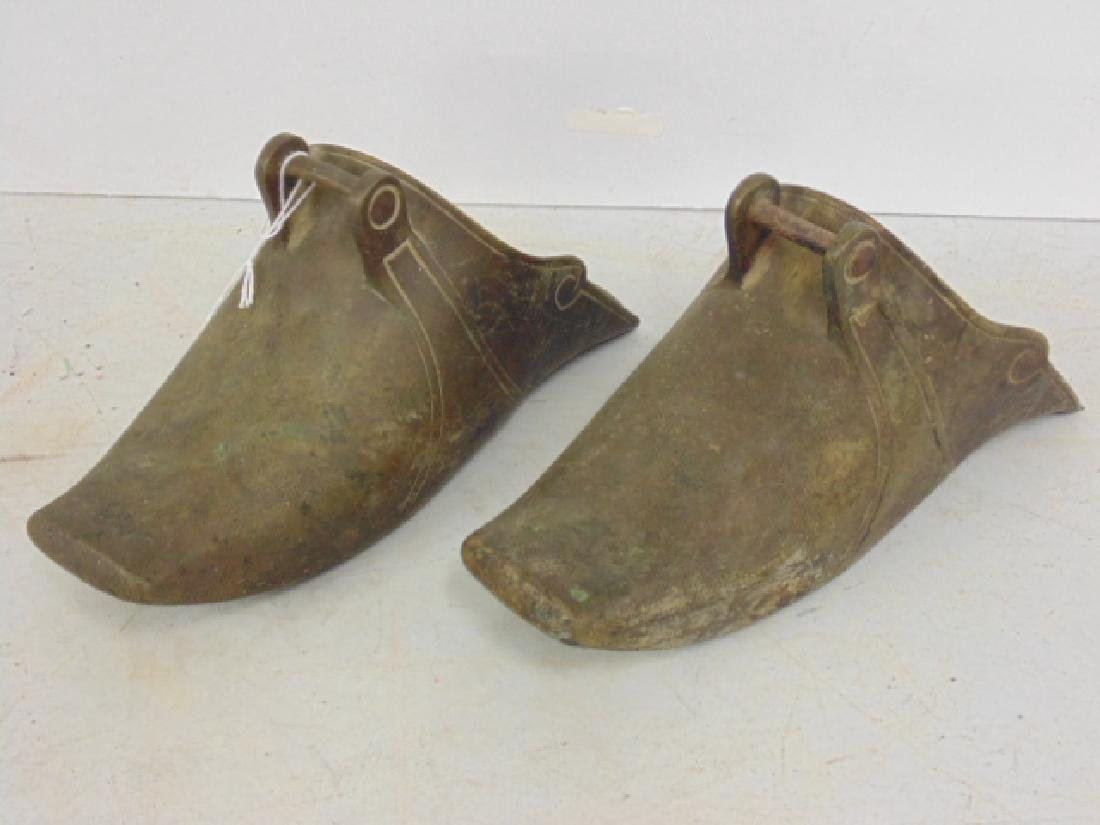 Pair Chinese brass shoe-form stirrups