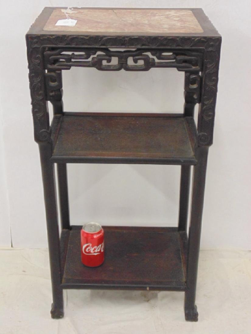 Asian, Chinese carved base marble top plant stand