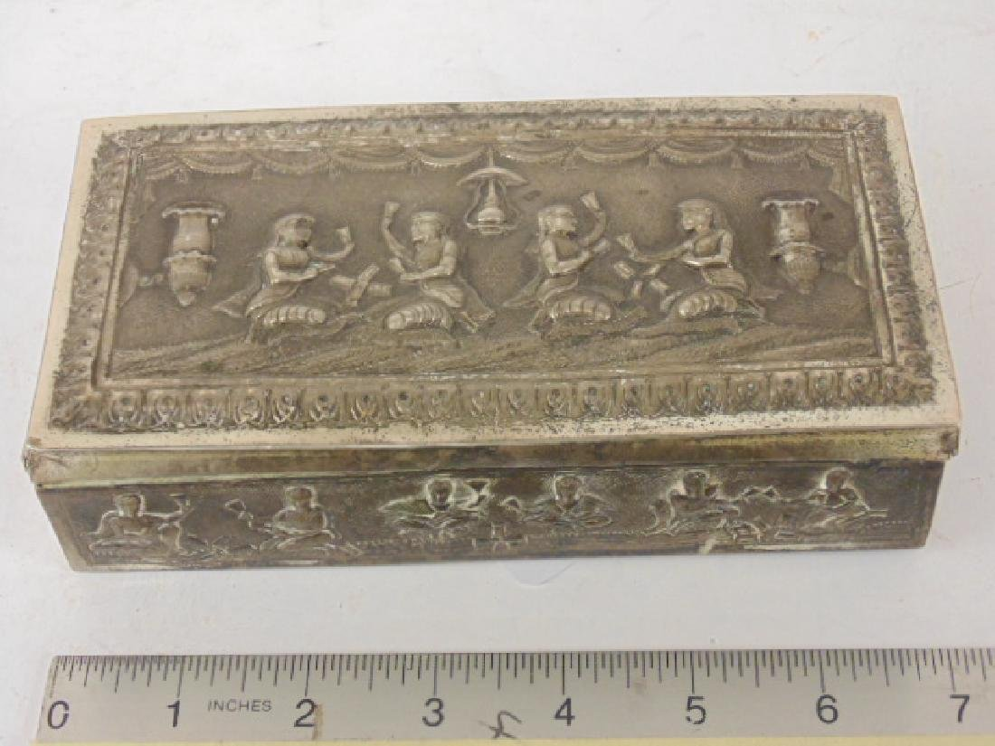 Asian, Thai style silver plated box decorated with