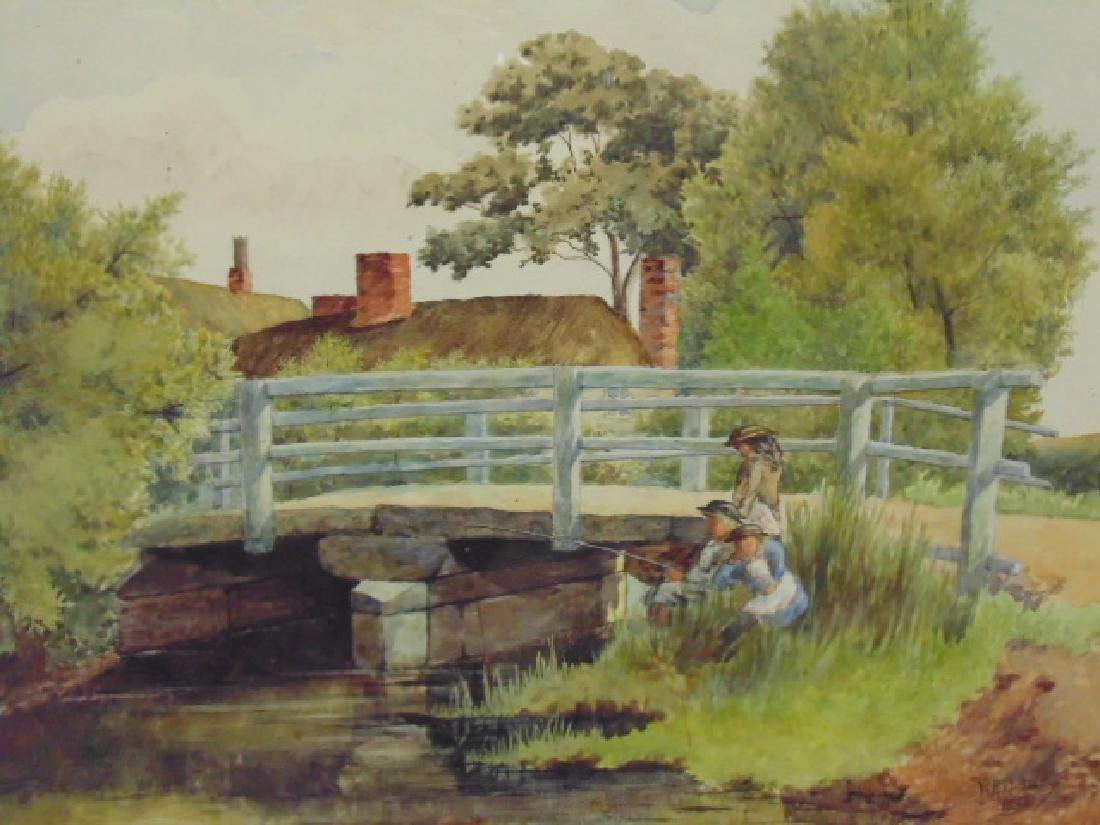 Painting, children fishing by bridge, W.H. Oldram, 1883 - 2