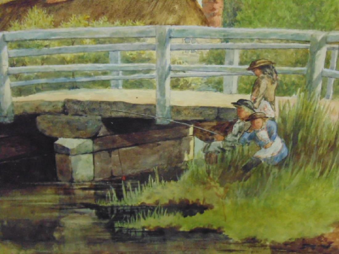 Painting, children fishing by bridge, W.H. Oldram, 1883 - 3