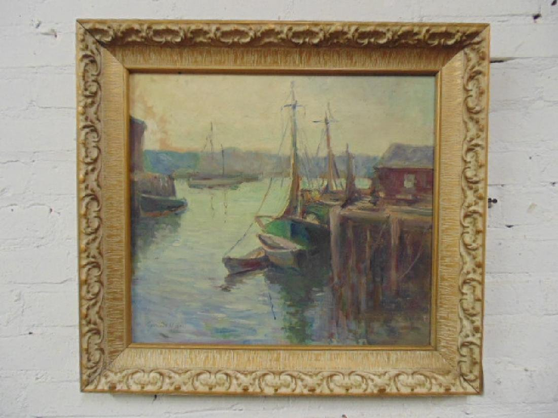 Painting, boats in harbor, signed Caroline M. Bell