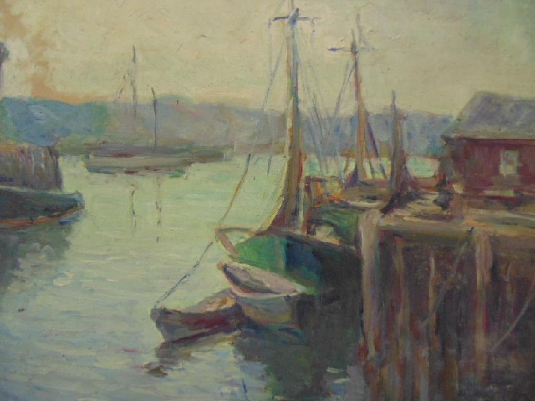 Painting, boats in harbor, signed Caroline M. Bell - 2