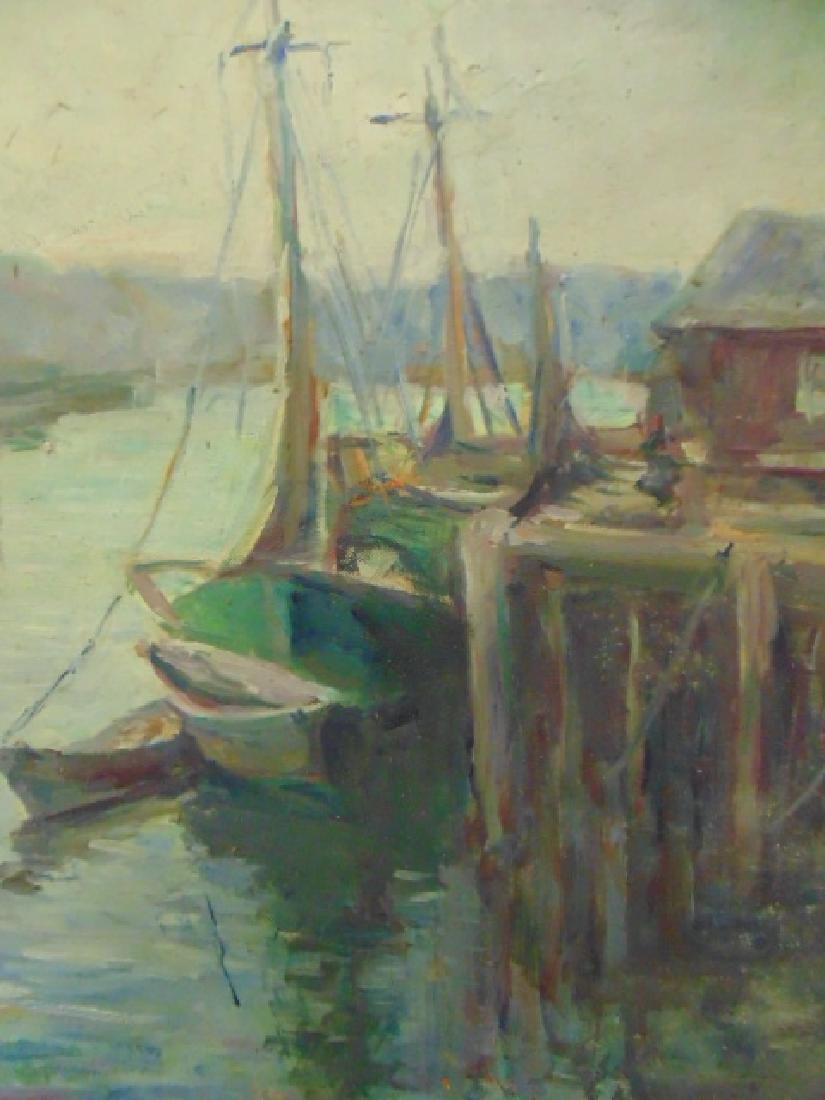 Painting, boats in harbor, signed Caroline M. Bell - 3