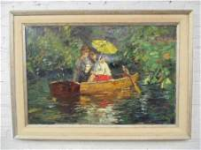 Painting, man & woman in boat, unsigned