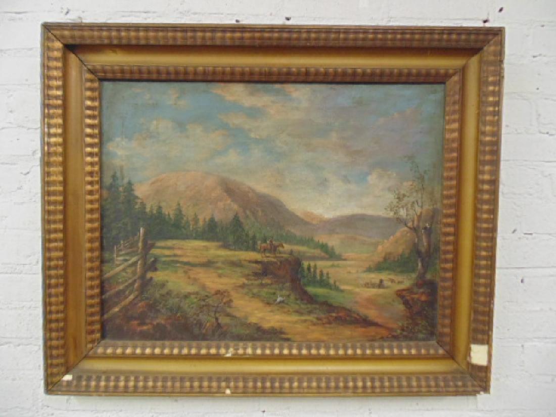 Painting, western landscape with figure on horseback