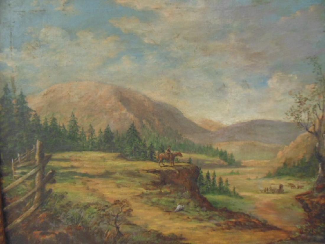 Painting, western landscape with figure on horseback - 2