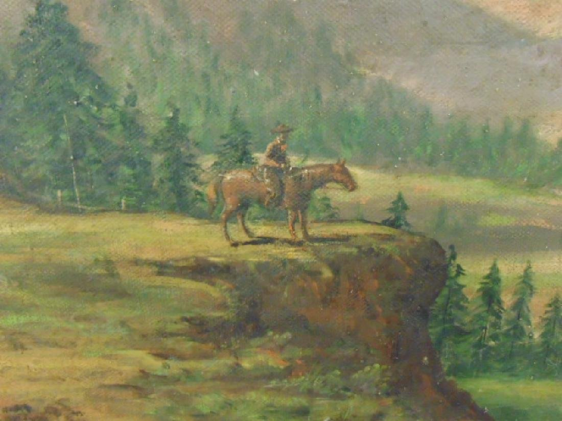 Painting, western landscape with figure on horseback - 3