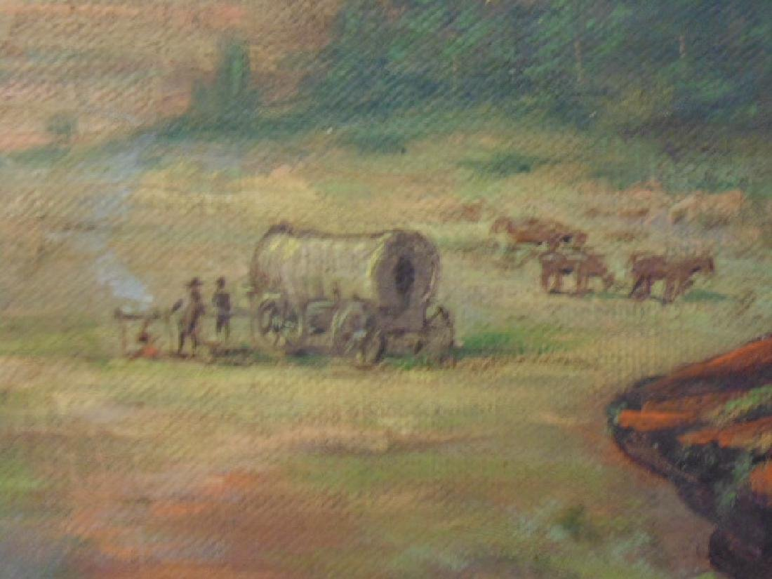 Painting, western landscape with figure on horseback - 4