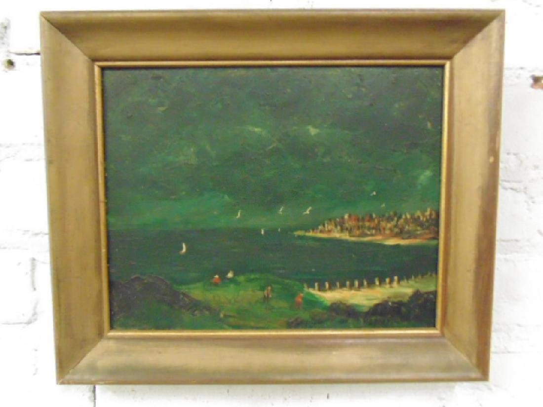 Painting, beach, shore scene, signed Naomi Lorne