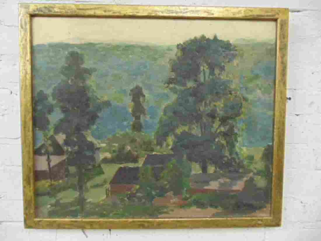 Painting,  landscape with village, signed Floyd Gahman