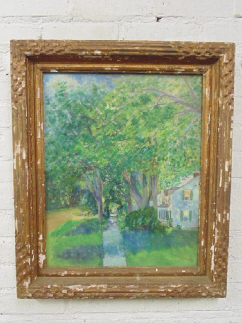 Painting, house by trees, Vermont, signed L. Martin