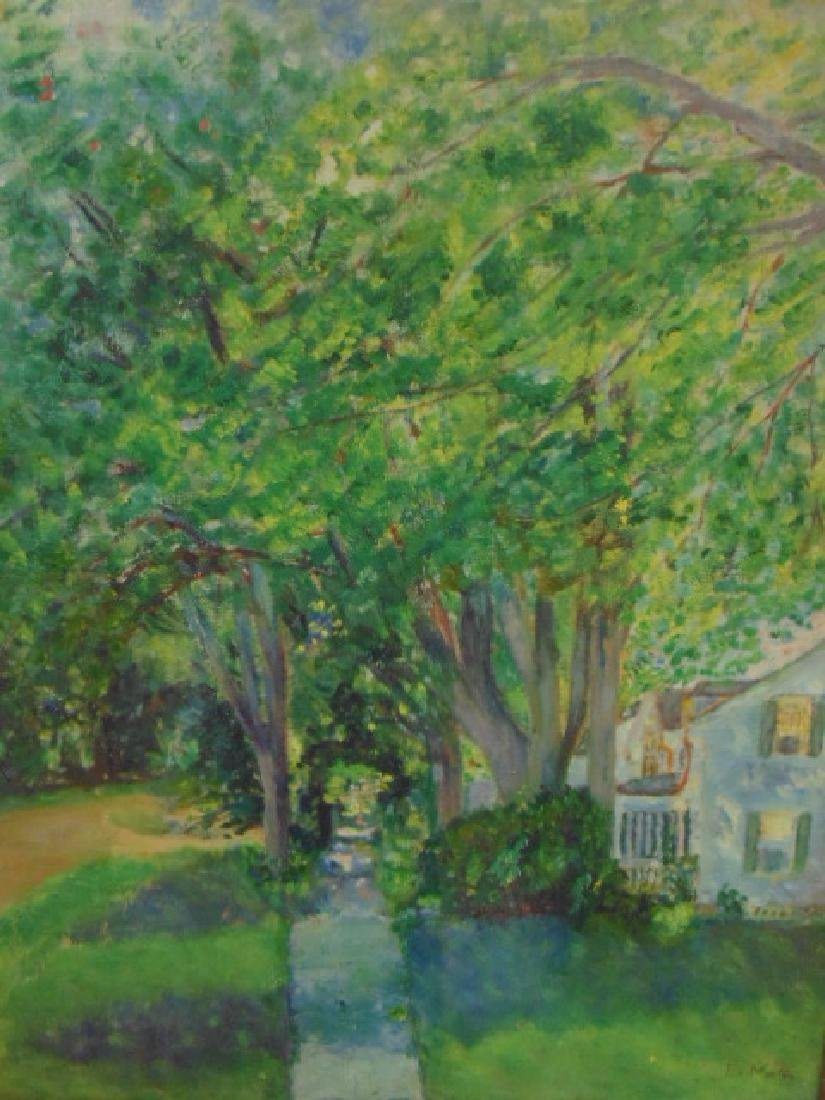 Painting, house by trees, Vermont, signed L. Martin - 2