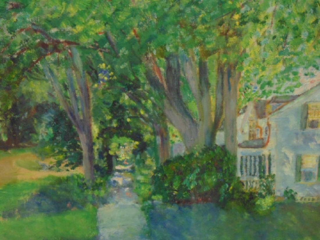 Painting, house by trees, Vermont, signed L. Martin - 3