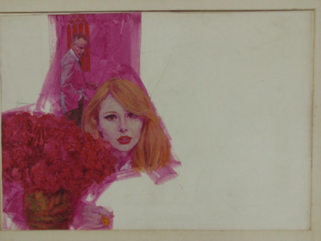 Illustration, Darrel Greene, woman with flowers, man