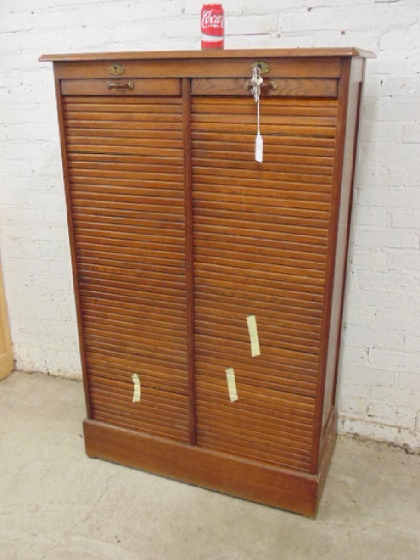 Double tambour front oak specimen, filing cabinet