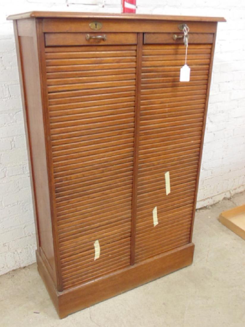 Double tambour front oak specimen, filing cabinet - 2