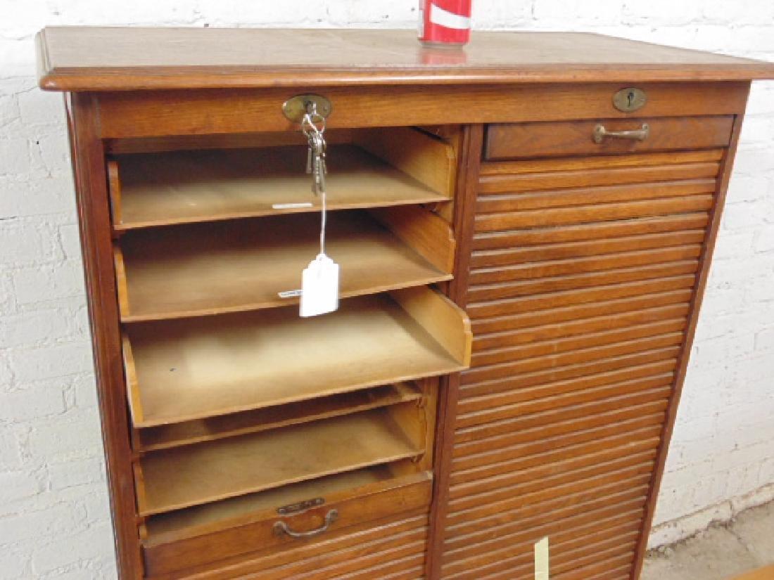 Double tambour front oak specimen, filing cabinet - 3