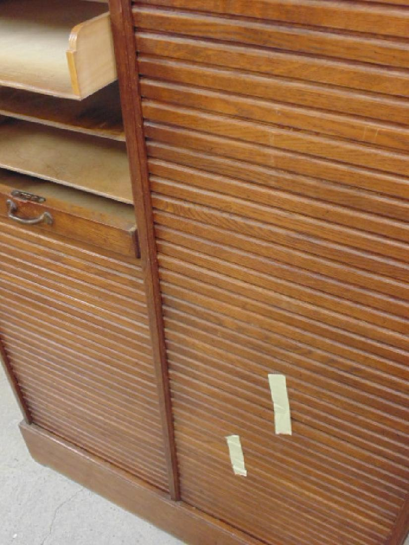 Double tambour front oak specimen, filing cabinet - 4