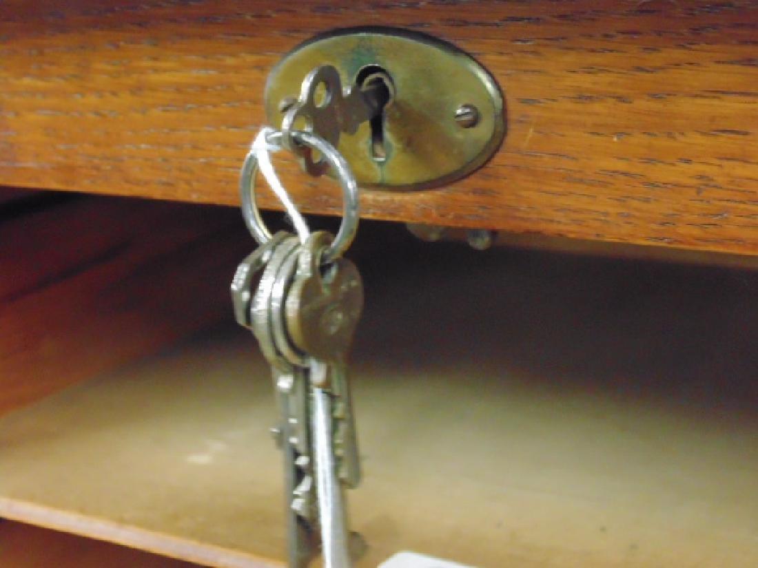 Double tambour front oak specimen, filing cabinet - 5