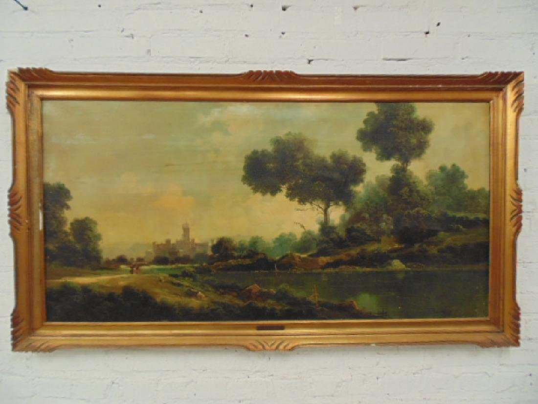 Painting, landscape with castle, signed Toni Bordignon