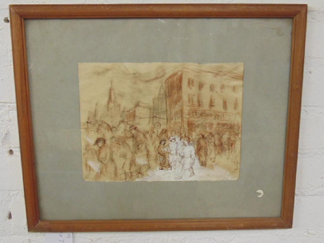 Drawing, street scene with figures by restaurant,