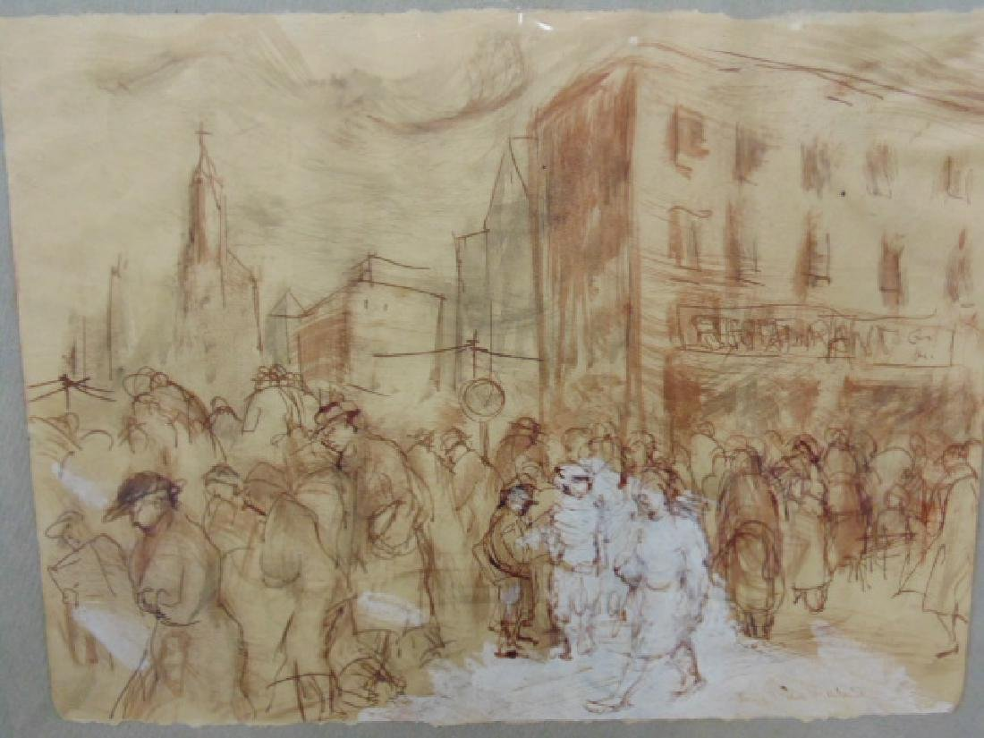 Drawing, street scene with figures by restaurant, - 2