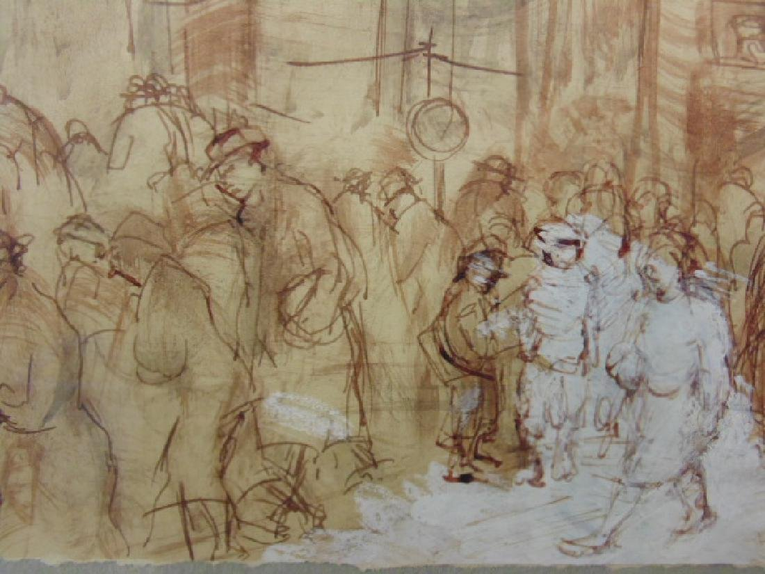 Drawing, street scene with figures by restaurant, - 3