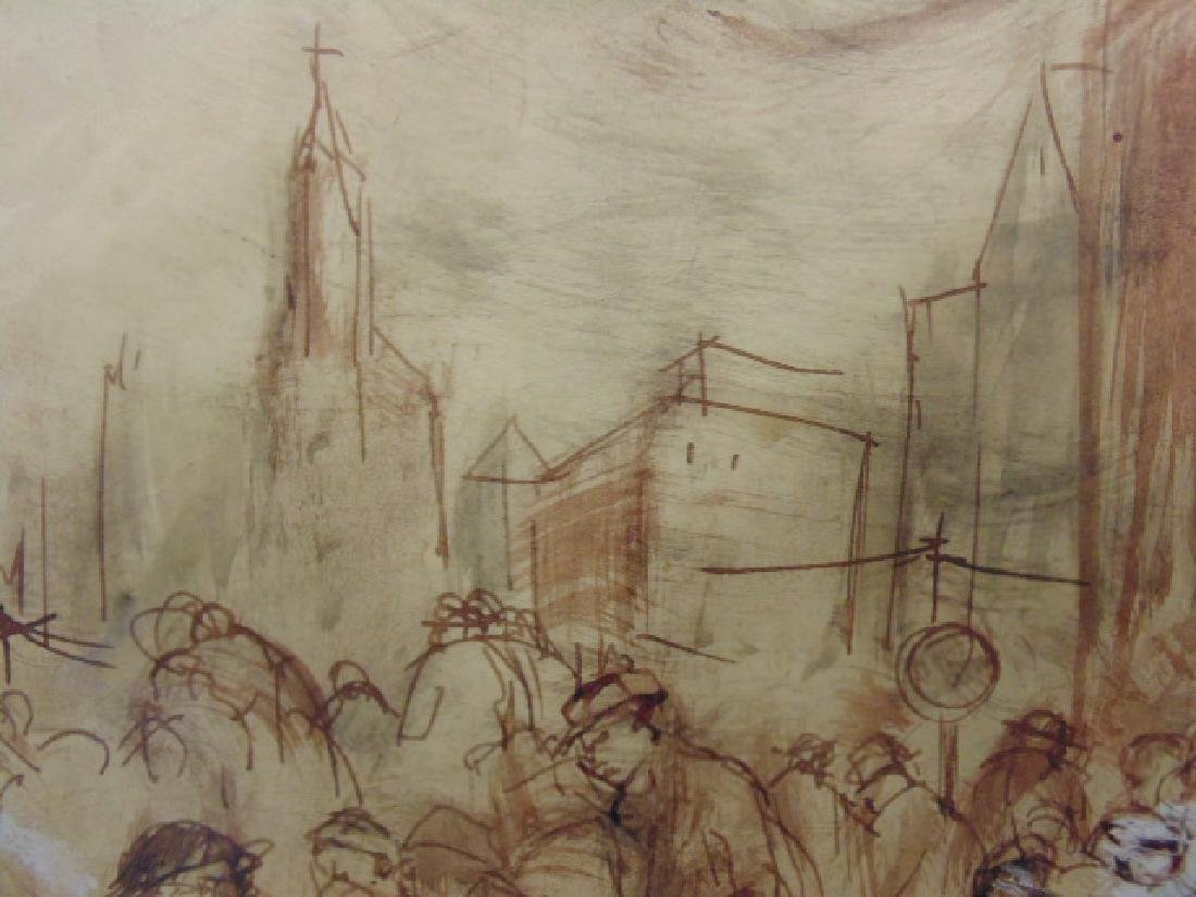 Drawing, street scene with figures by restaurant, - 4
