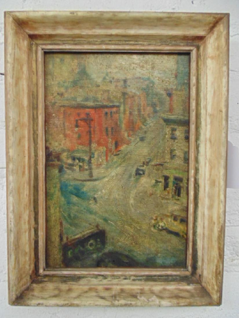 Painting, 1930's street scene with cars