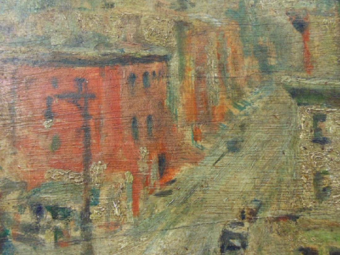 Painting, 1930's street scene with cars - 4