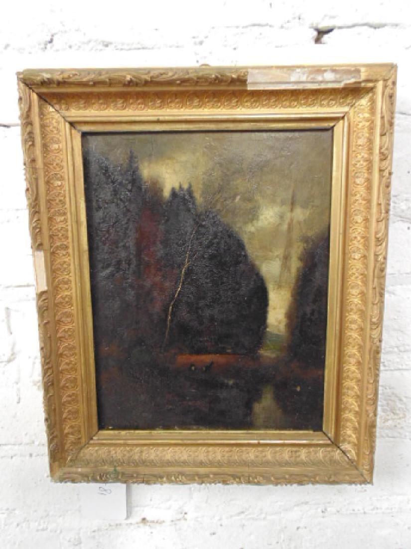 """Painting, dark landscape with deer """"Wilh. Klotz,"""