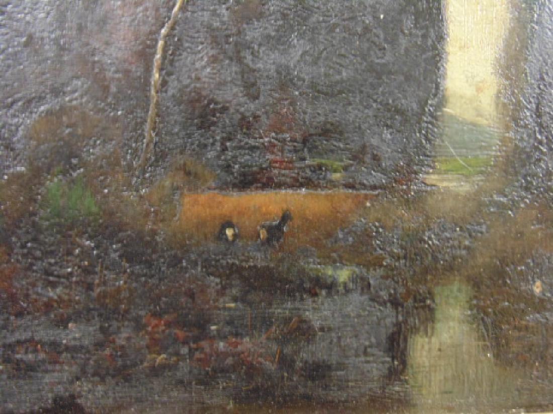 """Painting, dark landscape with deer """"Wilh. Klotz, - 2"""