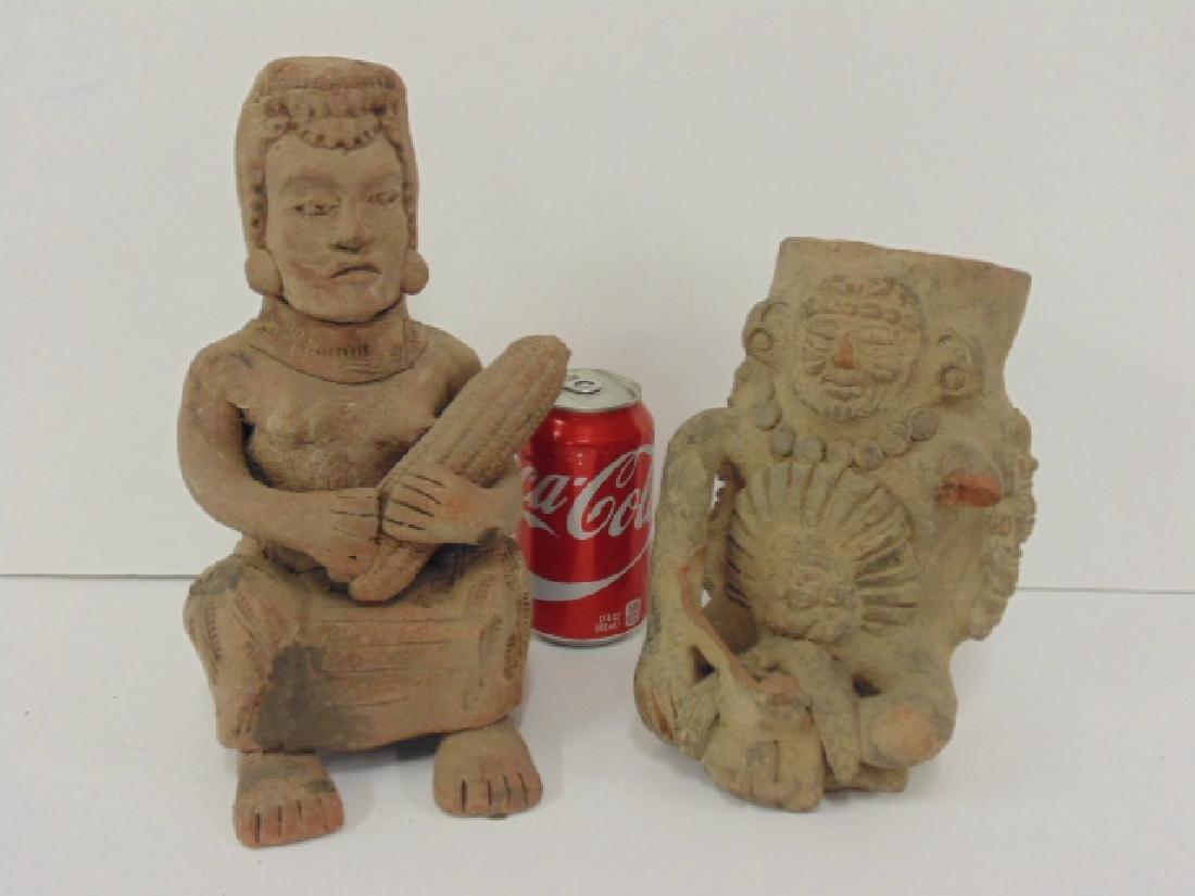 2 pre-Columbian figures, seated figure holding corn,