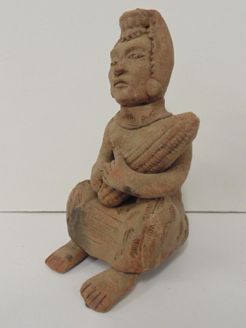 2 pre-Columbian figures, seated figure holding corn, - 3