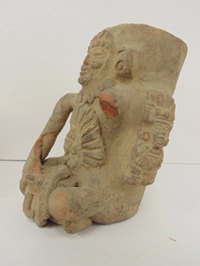 2 pre-Columbian figures, seated figure holding corn, - 5