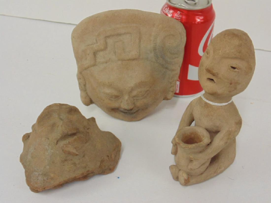 3 pre-Columbian pieces, small figure holding pot & 2