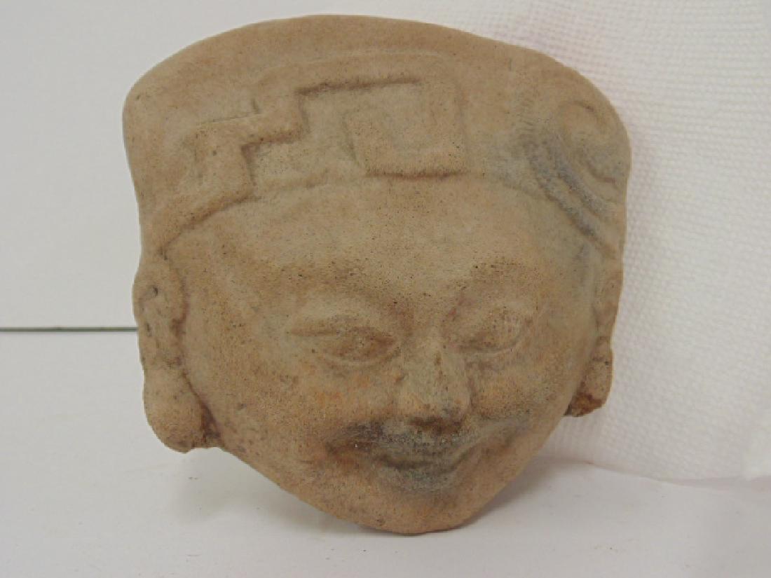 3 pre-Columbian pieces, small figure holding pot & 2 - 4